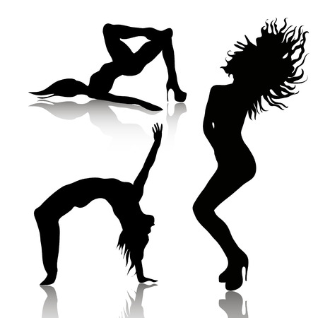 female stripper: Vector set of dancing woman silhuettes with shadows Illustration