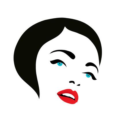 vector woman face fashion silhouette icon, beauty salon logo