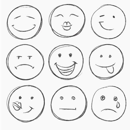 cara triste: vector conjunto de rostros dibujados a mano, sonríe aislado Vectores