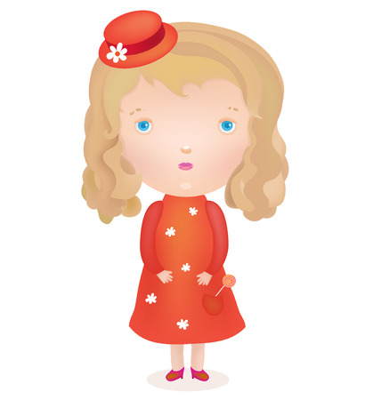blond girl: vector little cute blond girl in a red dress and hat Illustration