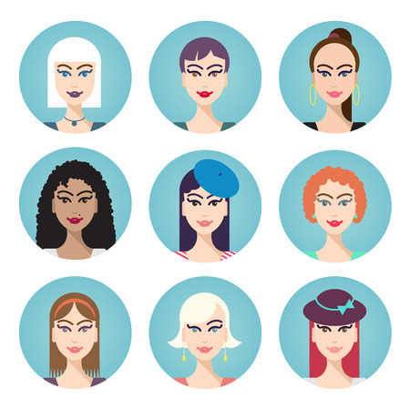 set of vector women characters, hairstyles illustration Vector