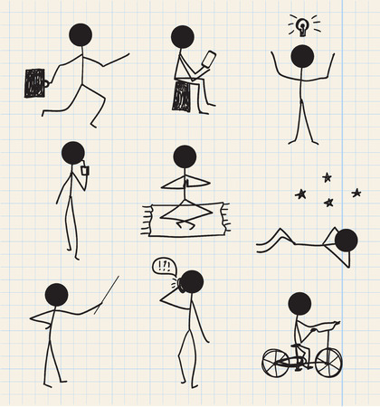 vector stick man, figure hand drawn daily life, business set isolated Illustration