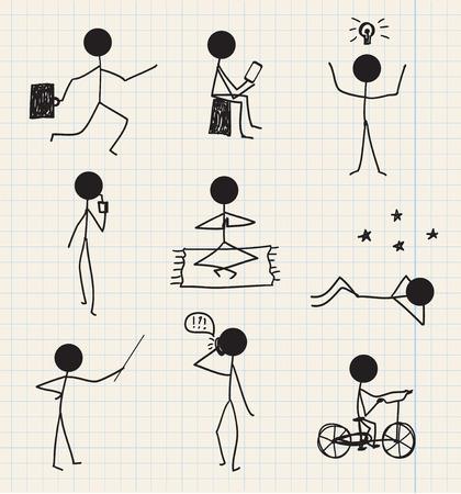 figura humana: vector palo de hombre, figura dibujado a mano la vida cotidiana, aislado conjunto de negocios Vectores