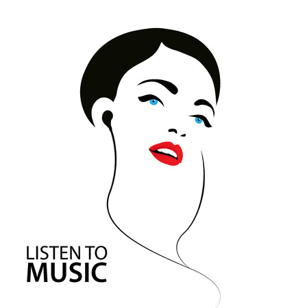 sihouette ilustración vectorial, cartel de una mujer escuchando música en los auriculares Ilustración de vector