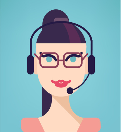 answering phone: Vector portrait of happy smiling cheerful support phone operator in headset, isolated on blue background. Modern, simple, flat and trendy business icon