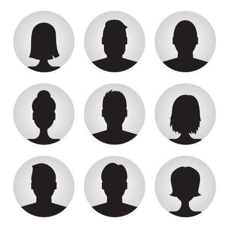 femme noire nue: ensemble de vecteur de color�s profil utilisateur illustrations, ic�nes. L'homme et la femme et woman.Male Avatar photo de profil jeu