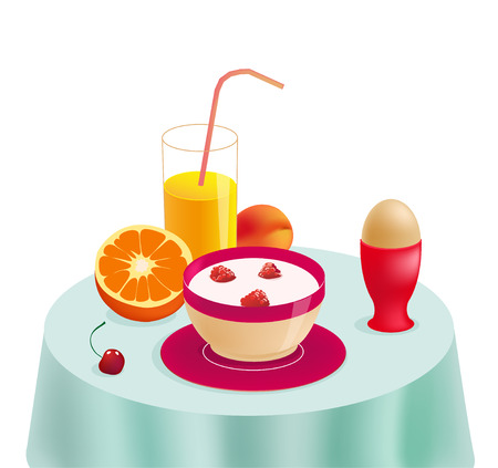 bowl of cereal: Healthy breakfast on the table. Eco food. Vector illustration