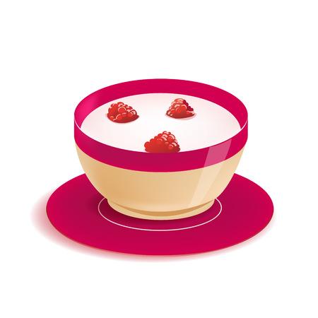 yogur: yogur vectorial en placa con bayas aisladas sobre fondo blanco, desayuno fresco