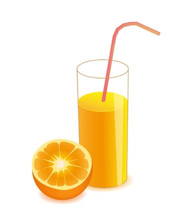 fiambres: vector de media naranja y jugo de naranja en el vidrio aislado en el fondo blanco