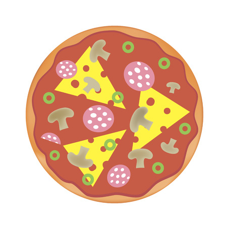 yummy: yummy vector pizza with cheese, salami, mushrooms, olives. fast food