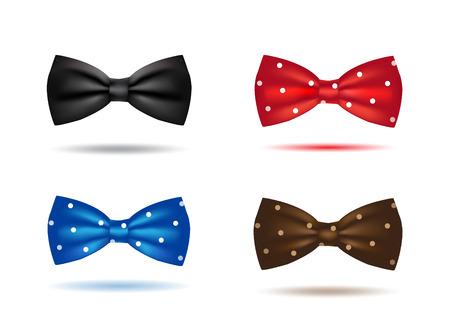 noeud papillon: ensemble de vecteur de colorés cravates réalistes isolé Illustration