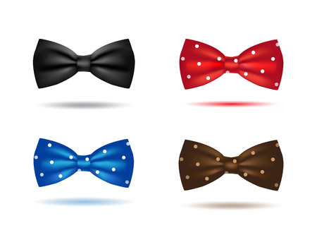bow tie: vector set of colorful realistic bow ties isolated Illustration