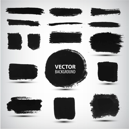 Vector set of black ink brush strokes