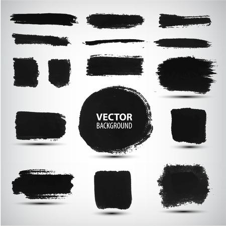 Vector set zwarte inkt penseelstreken te wijzigen Stock Illustratie