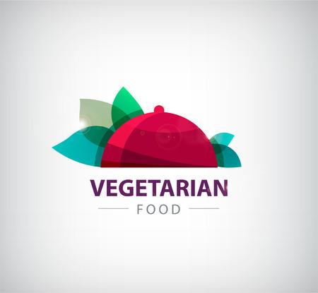 벡터 채식 레스토랑 음식 에코 로고, 아이콘