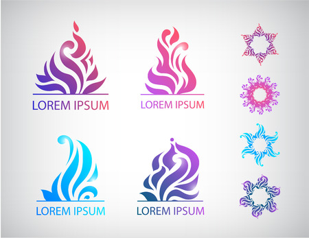 wellness icon: vector set of hand drawn abstract floral icons Illustration
