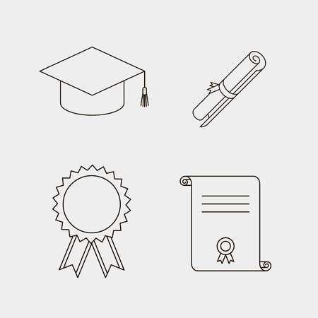 doctorate: vector black line education icons set. Diploma