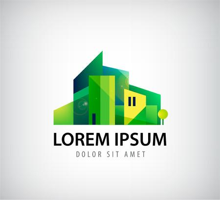 緑豊かな街、建物アイコン、分離されたロゴをベクターします。