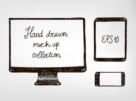 Dispositivos electrónicos de mano del doodle dibujado maqueta set - monitor, tableta y smartphone de ilustración vectorial