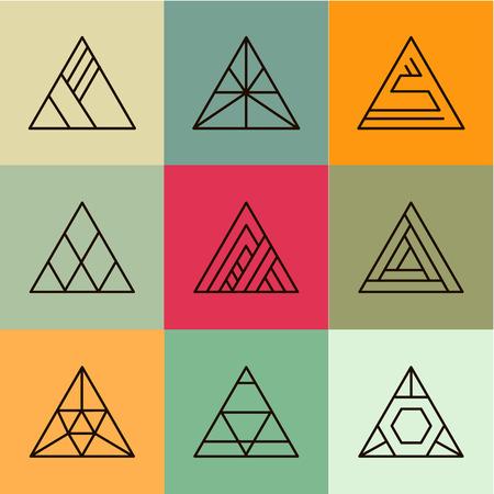 Set of geometric shapes, triangles. Trendy logotypes. Geometric line icons. Vector illustration