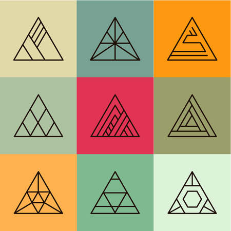 Set of geometric shapes, triangles. Trendy logotypes. Geometric line icons. Vector illustration