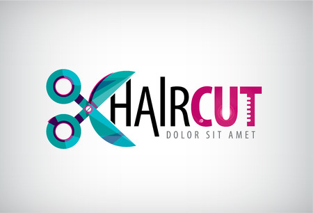 vector scissors logo, icon, hair cut icon isolated. Salon Çizim