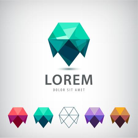 抽象モダンなクリスタル折り紙 3 d ロゴ、分離のアイコンをベクトルします。さまざまな色のご利用