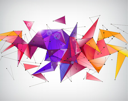 ベクトル抽象クリスタル 3 d 多面的な幾何学的な折り紙虹背景、未来的なバナー