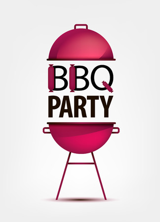 bbq: Barbecue BBQ party invitation with grill.  logo, icon, sign. Put your text Illustration