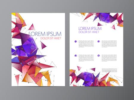 Abstract vector modern flyer brochure ontwerpsjablonen met kleurrijke geometrische driehoekige achtergrond