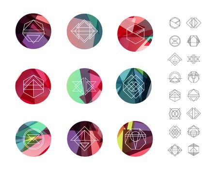geometricos: Conjunto de círculos de cristal de colores en el estilo de polígono con formas geométricas. Inconformista geométrica de fondo y logotipos retro.