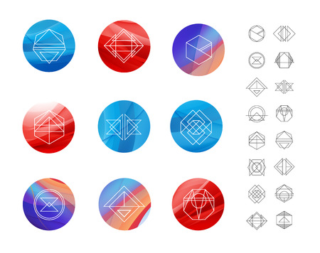 logotypes: Set of colored wavy silk background circles with geometric shapes. hipster retro logotypes, logos.