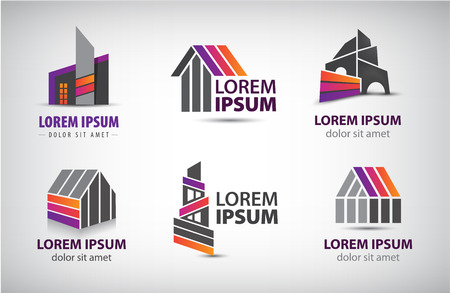 construction icon: set of colorful buildings Illustration