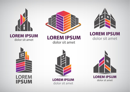 set of colorful buildings Illustration