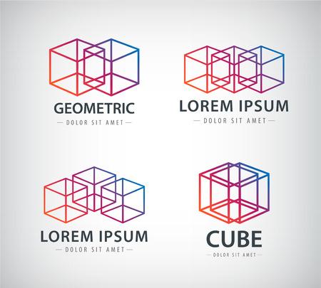 set of cube construction logos 일러스트