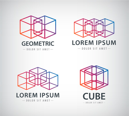 set of cube construction logos 矢量图像