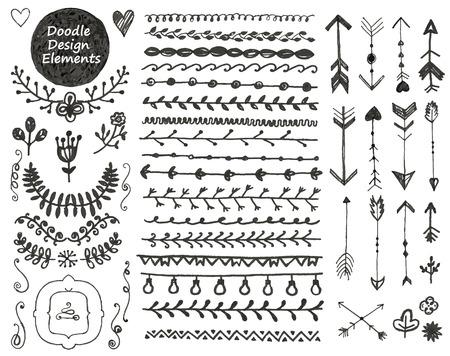bordes decorativos: Colección de decoración doodle de elementos de diseño dibujado a mano