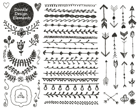 decoratif: Collection d'éléments de conception doodle de décoration dessinés à la main