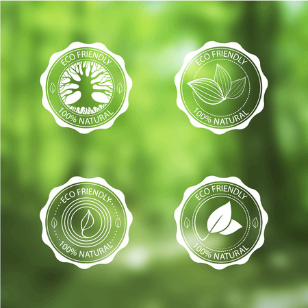 nature  plant: Set of Eco Labels with Bio template