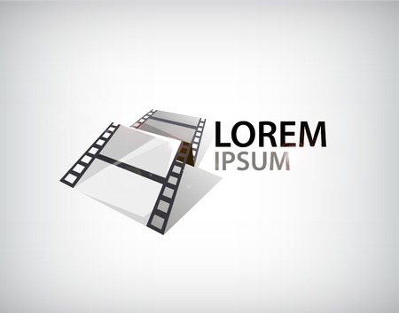 3d film: 3d film strip icon isolated