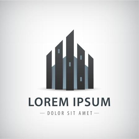 logo batiment: Hautes tours isolées construction logo