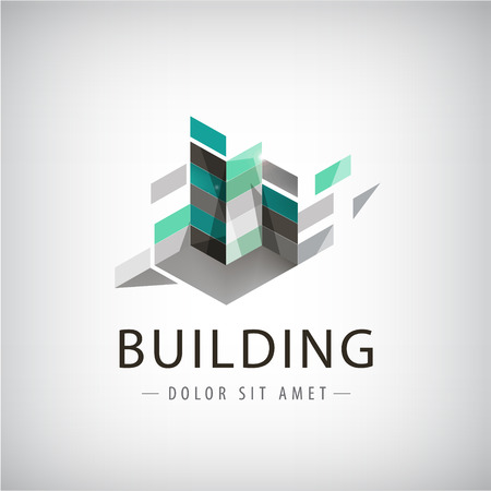 architecture and buildings: Abstract logo of Colorful buildings