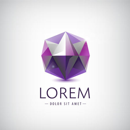 Shiny geometric polygon facet crystal gem logo