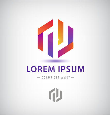 Company ribbon vector logo design element Çizim