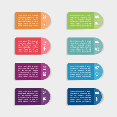 paper graphic: Set of paper stickers and labels for info graphic