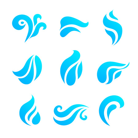 spiral: Water And Drop Icons Set Illustration