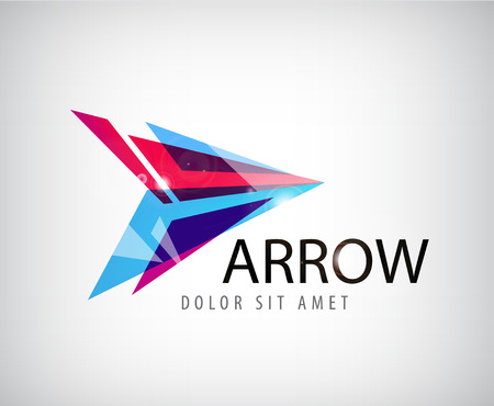 complex navigation: vector abstract shiny arrow logo, icon isolated