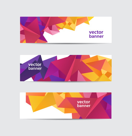 크리스탈 현대적인 측면 형상 다채로운 배너 벡터 설정 절연 스톡 콘텐츠 - 43196879