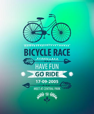 fahrradrennen: Vector Fahrrad-Plakat. Bike-Rennen Banner auf unscharfen Hintergrund