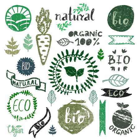 Aquarel logo set. Organische, bio, ecologie, eco natuurlijke ontwerp sjabloon. Hand tekening painting.Vintage vector, groene kleuren Stock Illustratie
